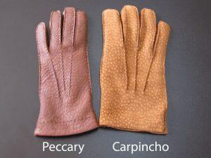 peccary-leder gegen carpincho-leder